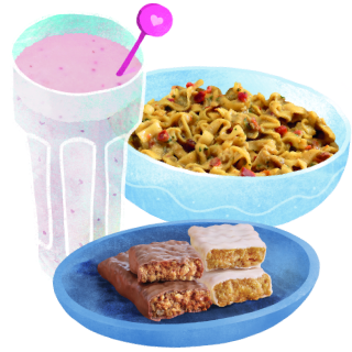 cherry and strawberry shake, chocolate bites and thai noodles